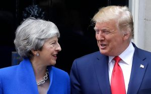 Trump eases up, makes nice with May before she steps down